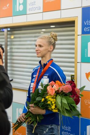 Katrina Lehise saabumine Tallinna lennujaama