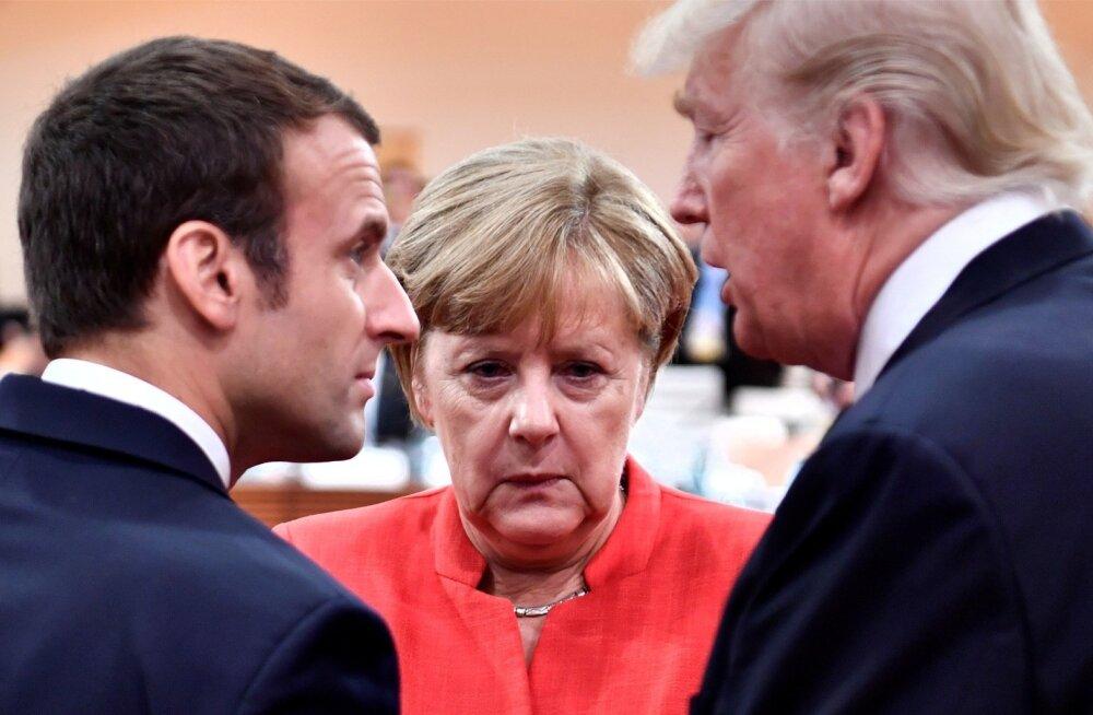 Prantsuse president Emmanuel Macron (vasakul) üritab muljet avaldada kõigile maailma liidritele, ka Donald Trumpile. Kas see tähendab, et senise Euroopa esipoliitiku Angela Merkel mõju väheneb?