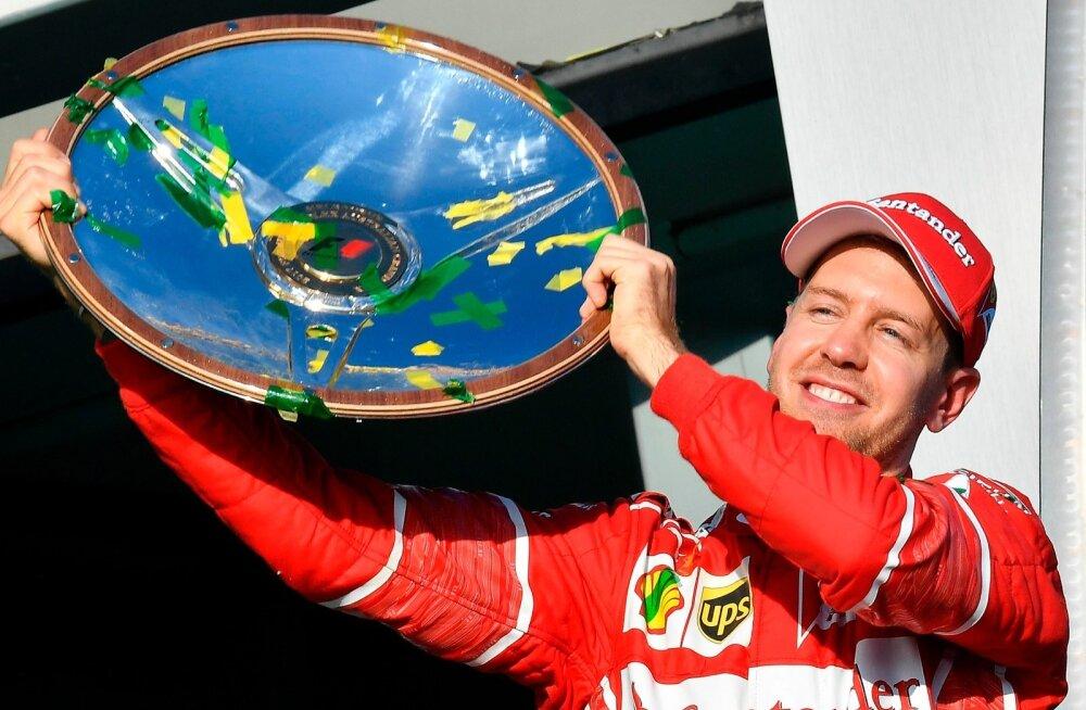 """Sebastian Vettel ja Ferrari polnud võidurõõmu maitsta saanud alates 2015. aasta Singapuri GP-etapist ning Austraalias saadud esikoht oli magus. """"Oleme tõesti õnnelikud. Tänane sõit oli imeline,"""" ütles võitja."""