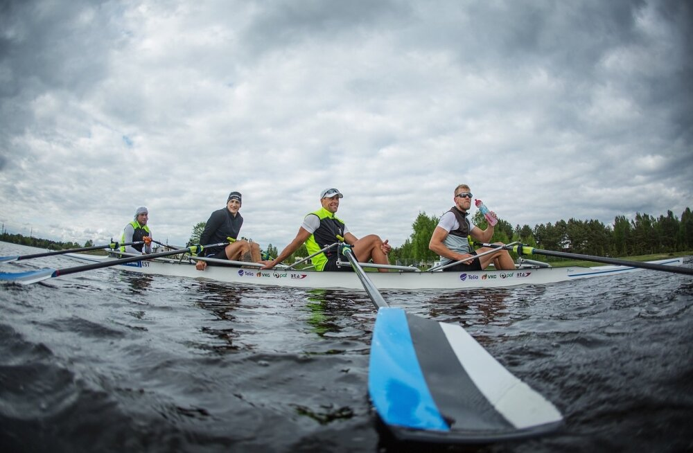 Eesti paarisaeruline neljapaat treenimas Pärnu jõel Rio olümpiaks