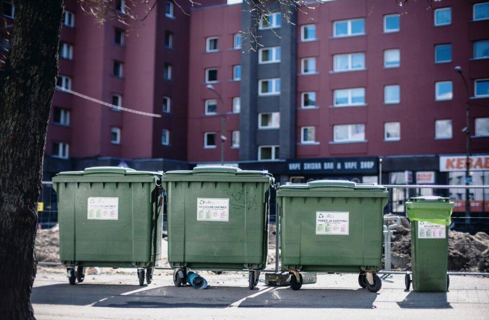 Kortermajade juures on üldjuhul üksnes segaolmejäätmete, paberi ja biojäätmete konteiner.