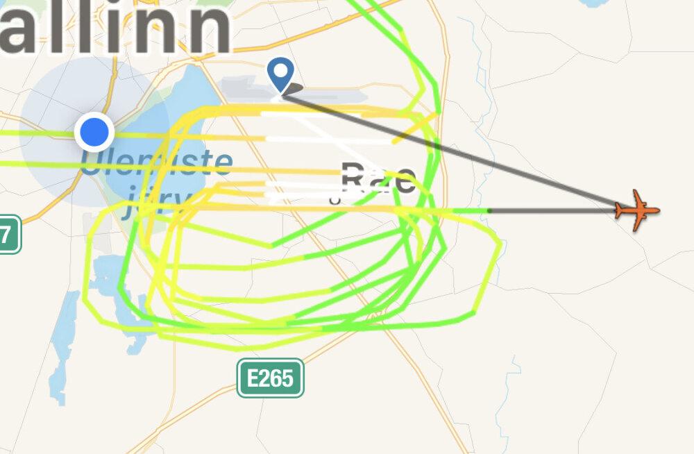 Tallinna lennujaama ja Ülemiste järve kohal tiirutab lennuk