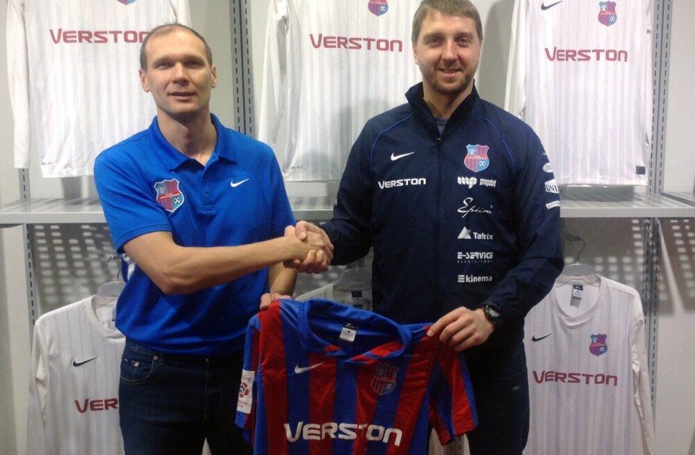 Paide linnameeskonna eelmine peatreener Meelis Rooba (vasakul, UEFA Pro) ja tema mantlipärija Vjatšeslav Zahovaiko (A-litsents)