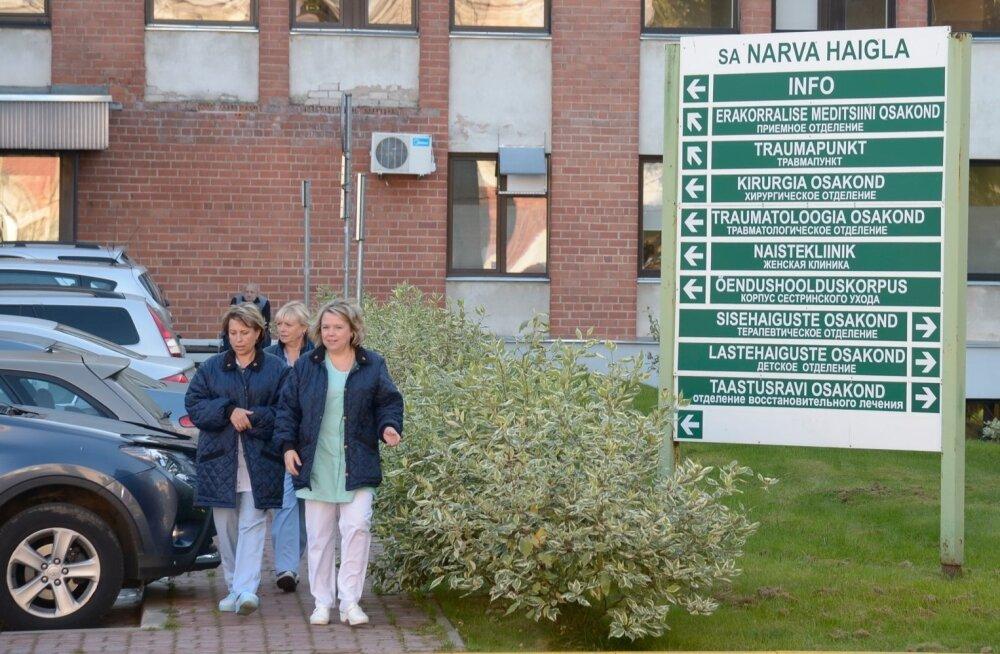 Tervishoiutöötajad korraldasid täna hommikul hoiatusstreigi Narvas