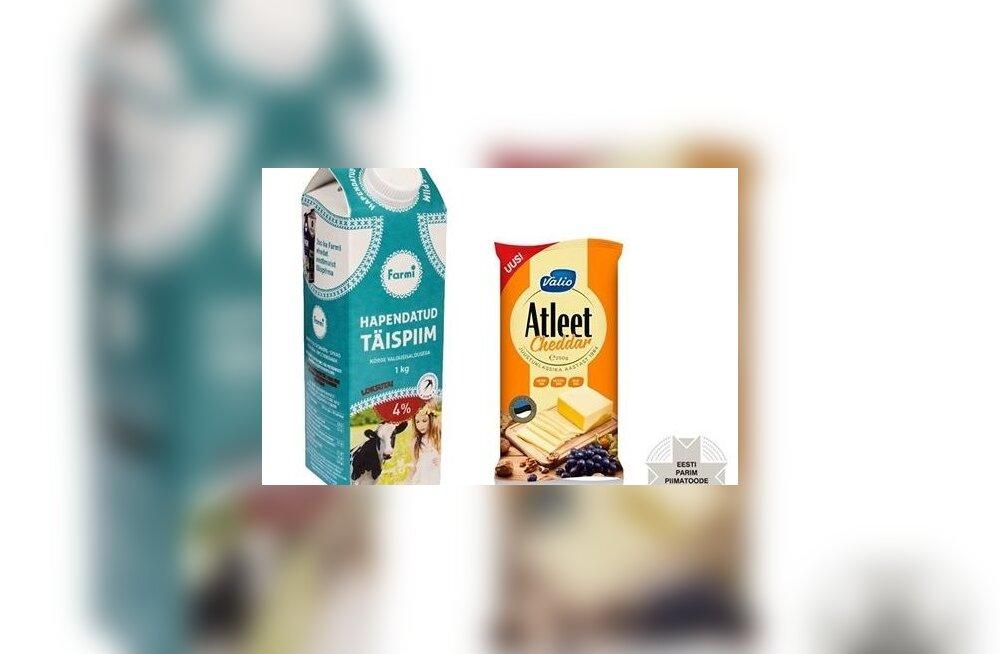 Valio Atleet Cheddar juust ja Farmi hapendatud täispiim