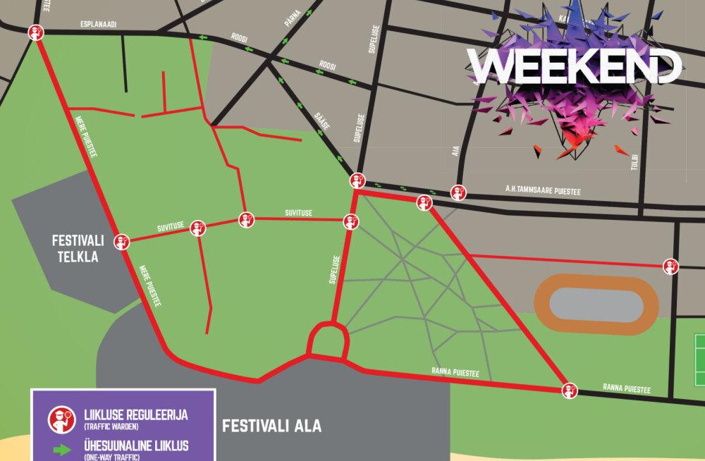 Ole tähelepanelik! Weekend Festival Baltic manitseb autojuhte jälgima Pärnu liikluskorraldust