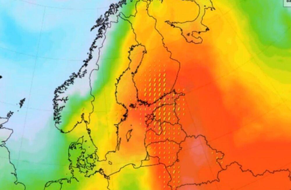 Soome ilmateenistus lubab pärastlõunast paduvihma, tormi-iile ja 10 000 välgunoolt