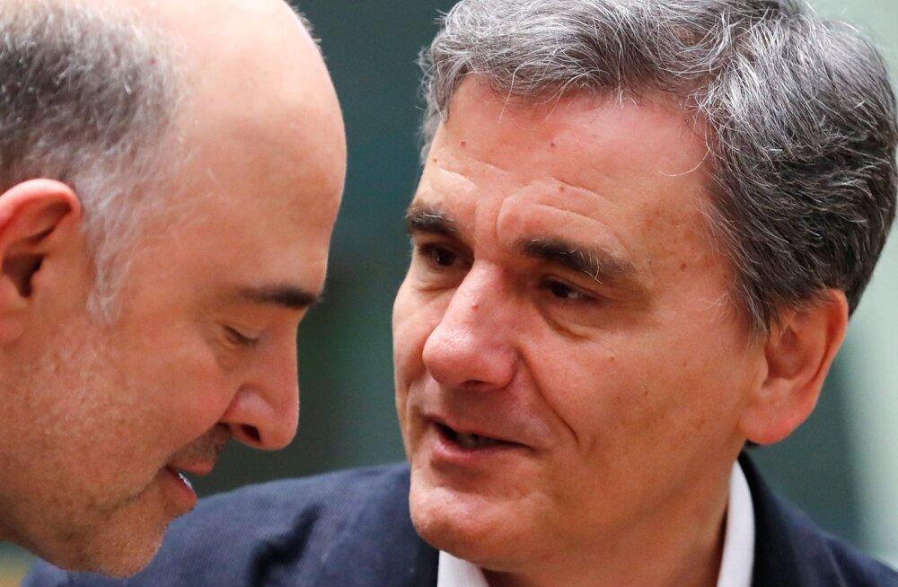 Euroopa Komisjoni majandusvolinik Pierre Moscovici ja Kreeka rahandusminister Euclid Tsakalotos eile õhtul.