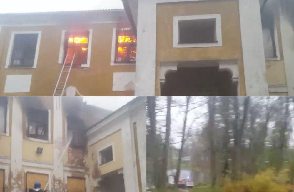 ВИДЕО: В историческом здании мызы Вяймела в Вырумма произошел пожар