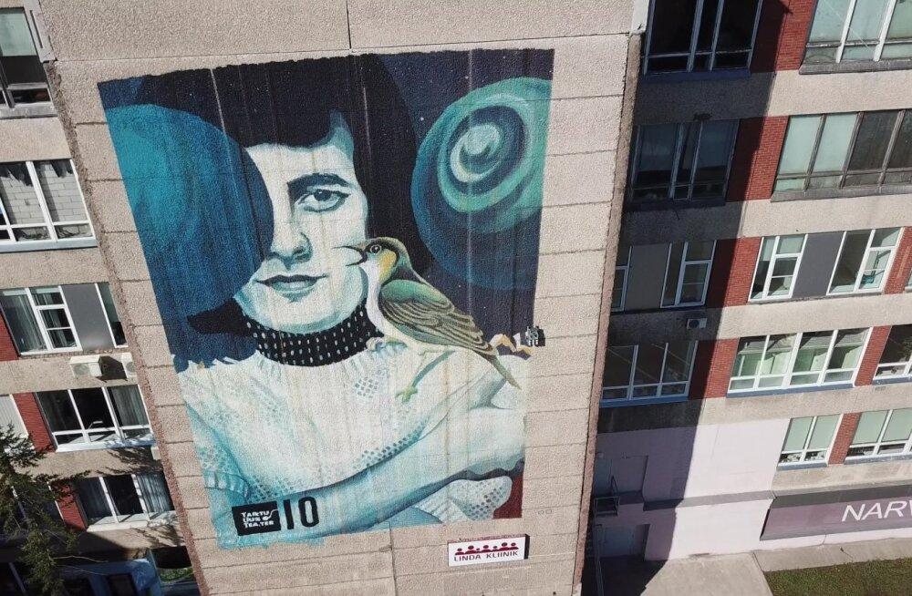ВИДЕО: Красота! Гигантский портрет Яака Йоала в Нарве с высоты птичьего полета