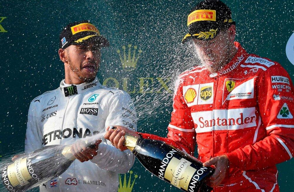 Vormelimaailm loodab, et kõva madin kestab Lewis Hamiltoni (vasakul) ja Sebastian Vetteli vahel terve alanud hooaja.