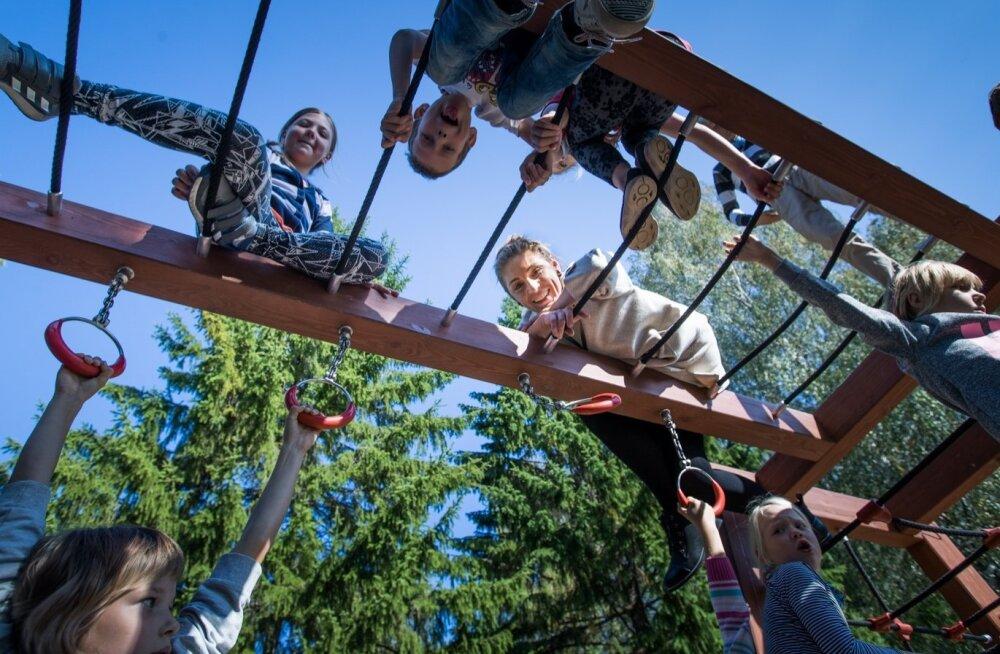 Vihasoo lasteaia-algkooli õpetaja Riina Maidre turnib ilusa ilmaga vahetunni ajal koos õpilastega ronimispuudel.