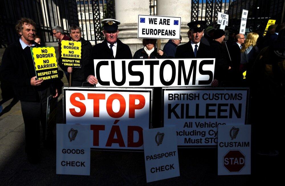 Iirlased avaldasid aprillis Dublinis valitsushoone ees meelt, et Brexiti tõttu ei loodaks Iirimaa ja Põhja-Iirimaa vahele piiritsoone.