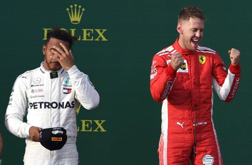 Lewis Hamilton (vasakul) pidi nukralt tõdema, et seekord mängisid Sebastian Vettel ja Ferrari ta üle.