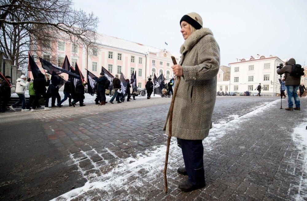 """Eilne Maria Kaljuste """"Saja eestlase võidumarss"""" sai kokku napid 20 osalejat."""