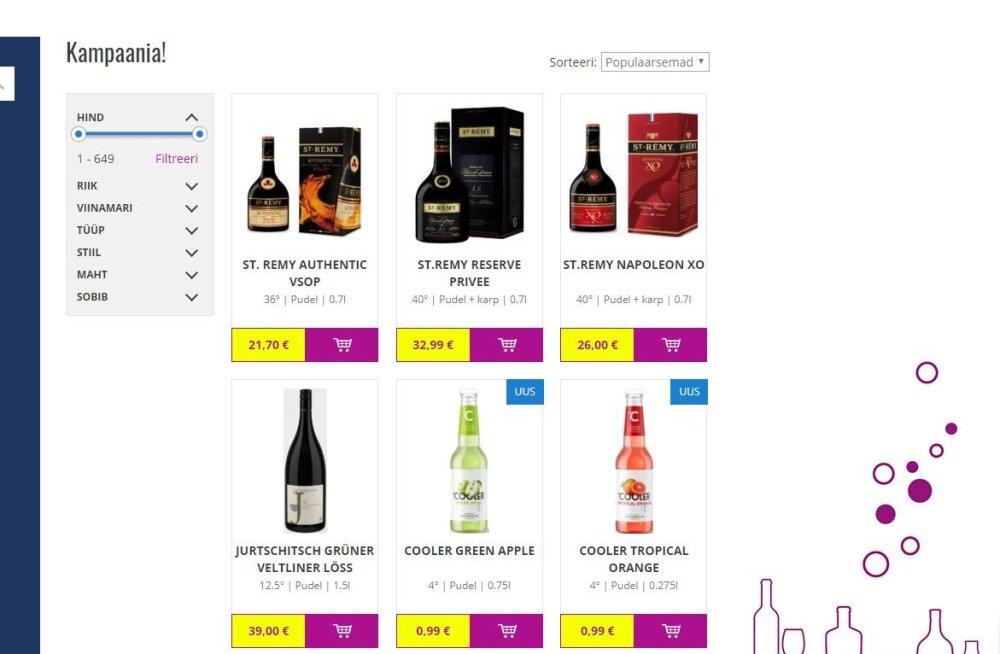 Alkoholimüüjate veebilehtedelt leitav reklaam ei pruugi olla seaduslik