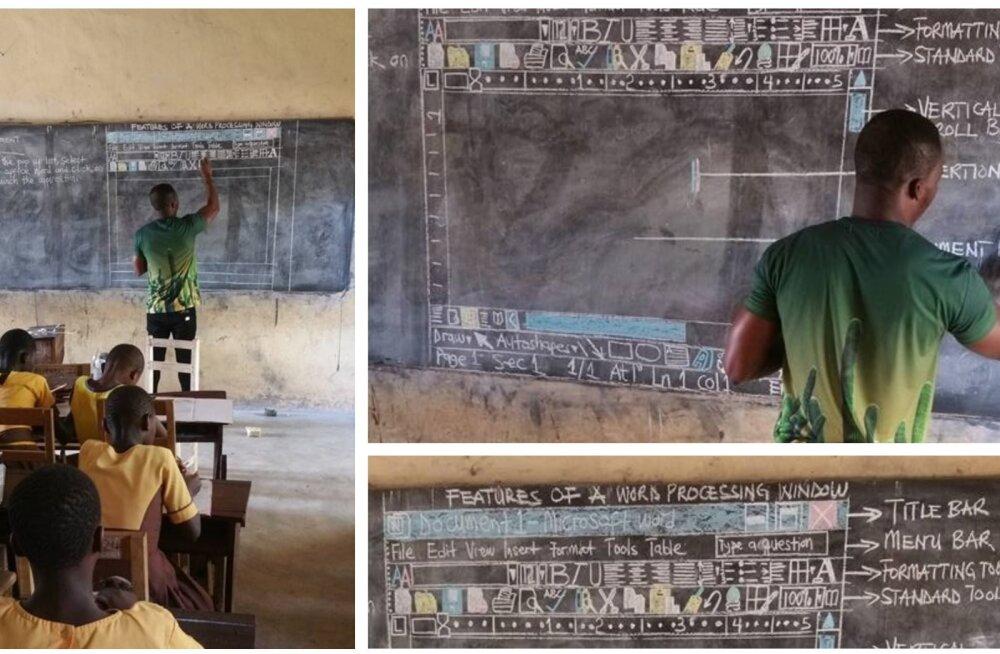 Arvutitund Ghana moodi: sülearvutite asemel käib töö kriidiga mustal tahvlil