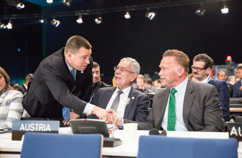 FOTOD | Jüri Ratas kohtus Poolas Arnold Schwarzeneggeriga! Viimane vürtsitas kliimakonverentsi ka oma tuntud lööklausega