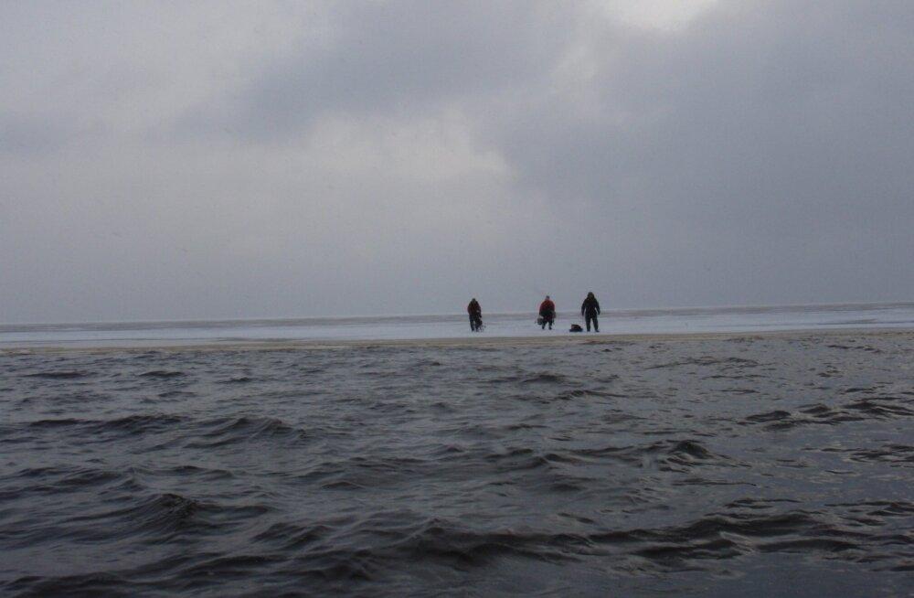 Kolm kalameest 29. jaanuaril maast eemale triivival jääpangal