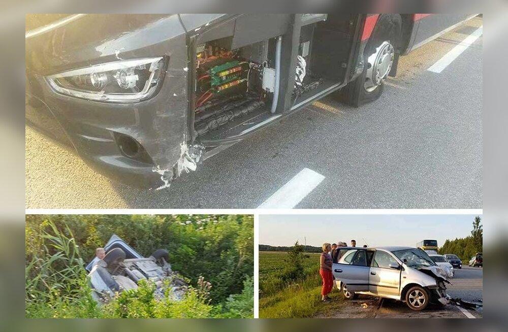 ФОТО: Автобус Lux Express линии Таллинн-Рига попал в аварию, когда водитель совершал обгон