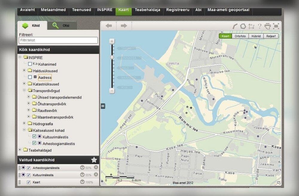 Eesti geoportaal koondab olulist infot riiklikest kaardiandmetest