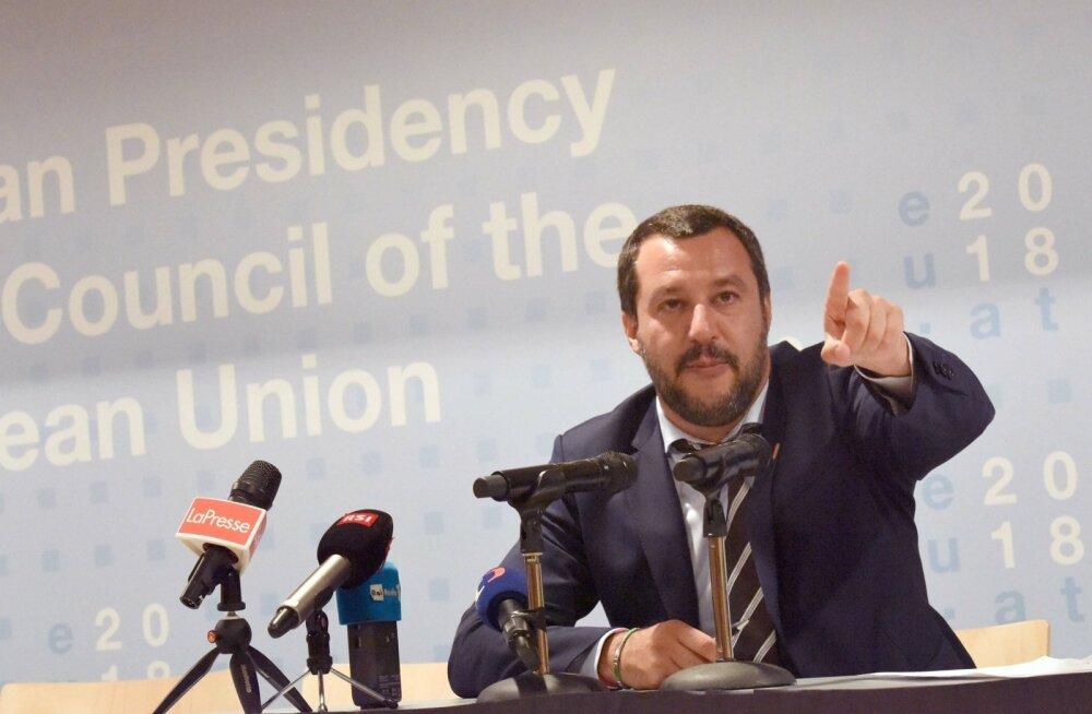 Itaalia asepeaminister Matteo Salvini Austrias toimunud pressikonverentsil.