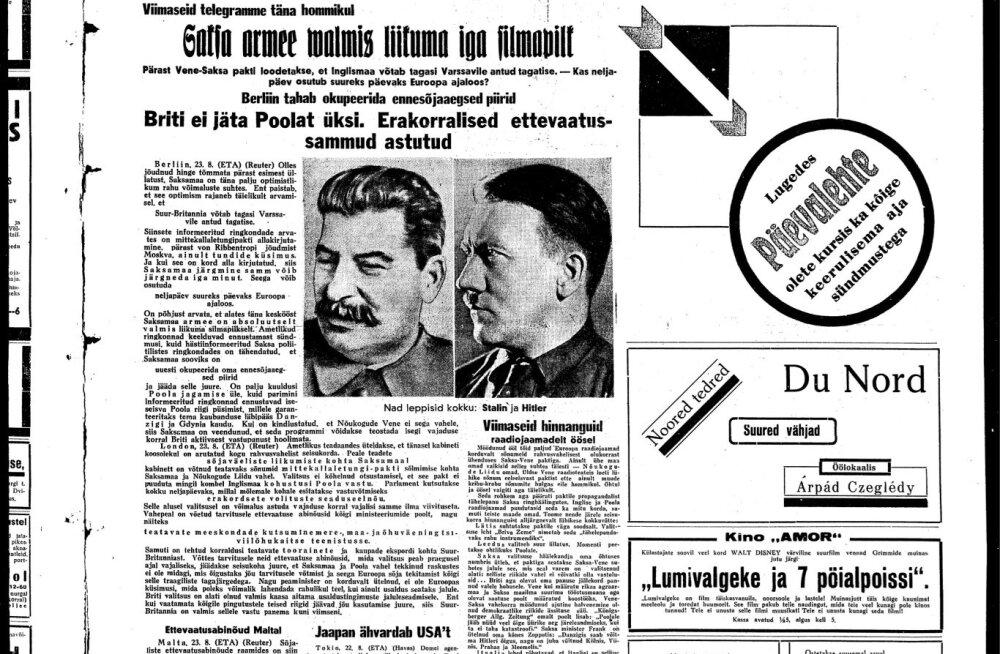 Päevaleht 23. augustil 1939