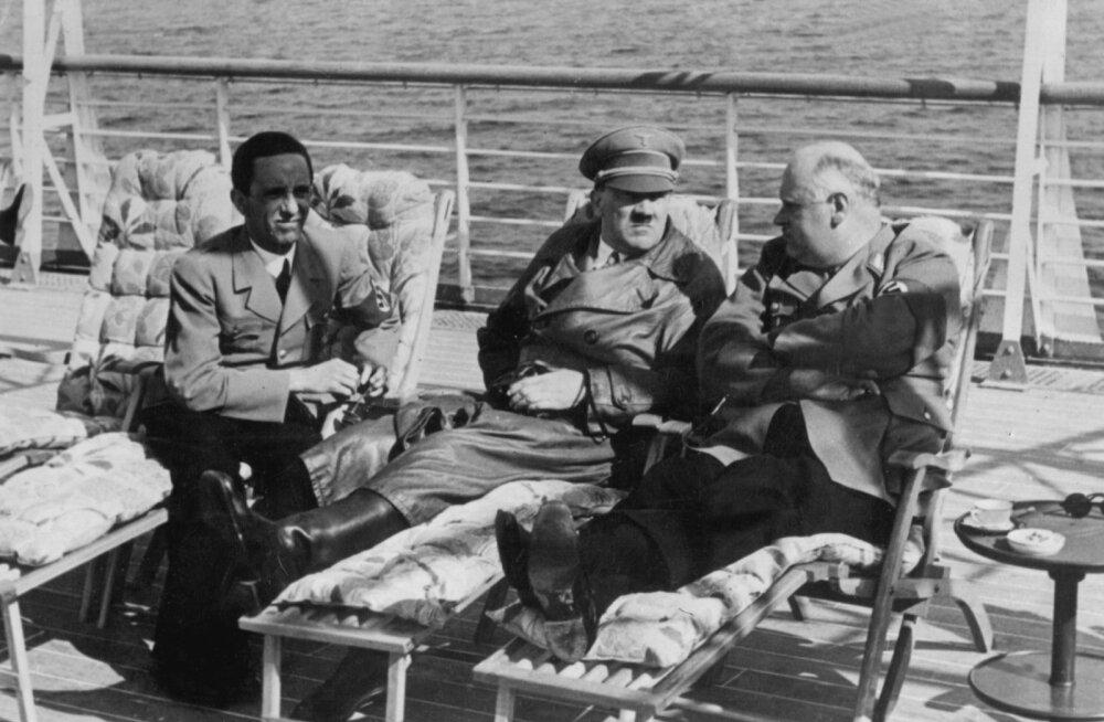 Enne 1943. aastat Hitler narkootikume peaaegu ei võtnud. Nende vajadus tekkis, et sõja viimastel aastatel vähemasti kunstlikult hetkekski luua karisma ja energia, mis tal varem olid loomulikult. Fotol Hitler (keskel) koos Joseph Goebbelsi ja Carl Röveriga