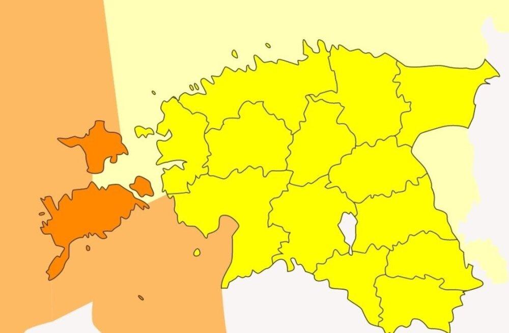 КАРТА: По всей Эстонии объявлено штормовое предупреждение. Погода может быть очень опасной!