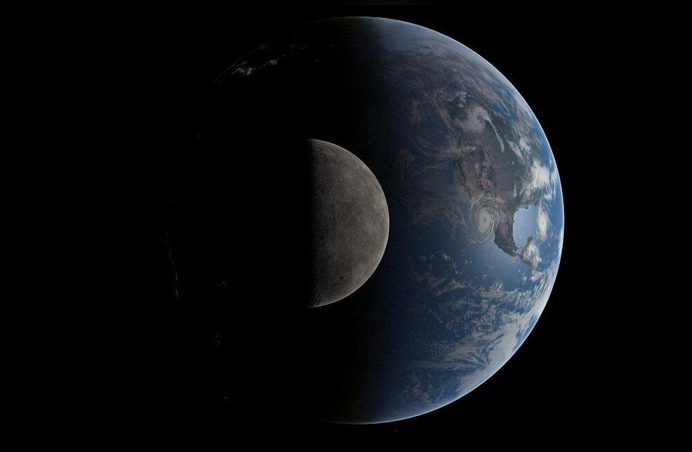 Sel 1,5 miljoni kilomeetri kauguselt tehtud fotolt on näha Maa ja sellest poole miljoni kilomeetri kaugusel tiirleva Kuu võrdlussuurused. Ometi on Kuu pinnasest leitud Maal kasvavatest taimedest pärinevat hapnikku.
