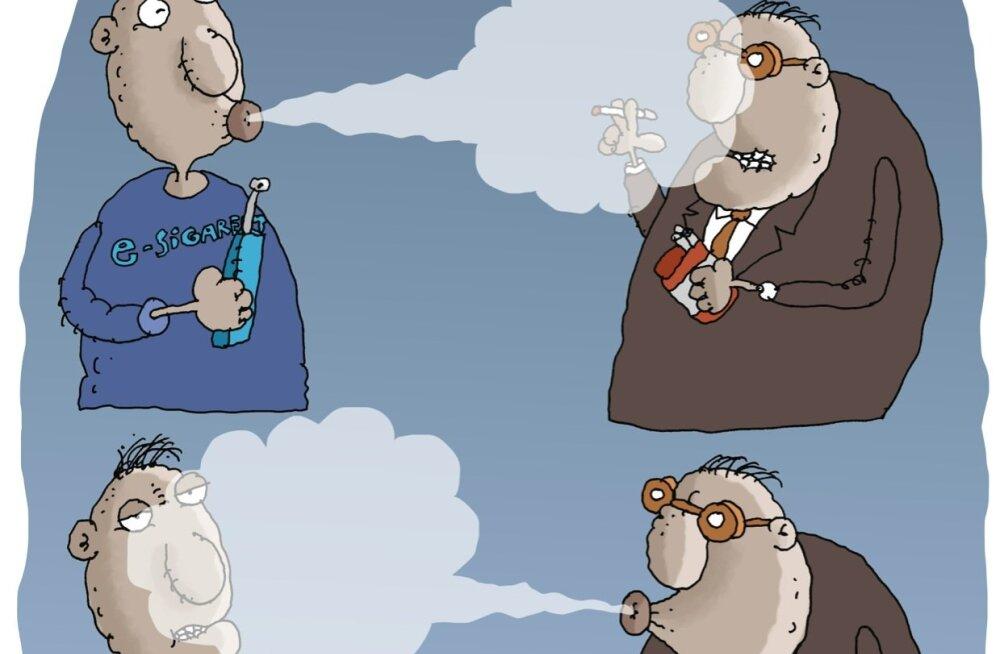 Karikatuur | Tubakaduell ehk e-sigaretid e-riigi vastu