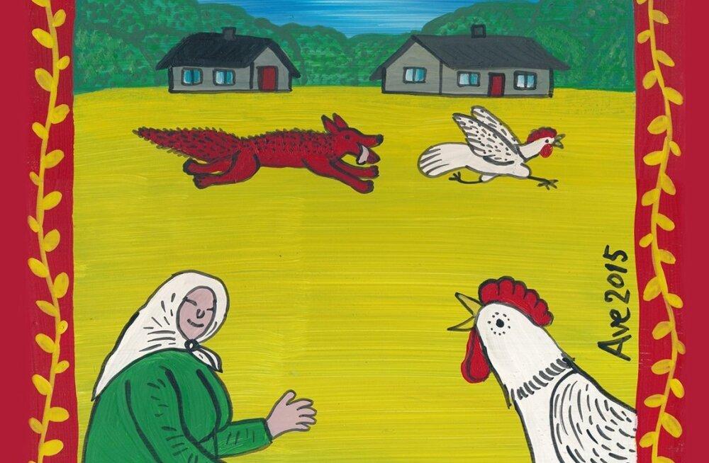 """Illustratsioon Ave Nahkuri ja Laine Randjärve vanasõnade kogumikust """"Meie küla eided otsivad tarkuse teri.""""."""