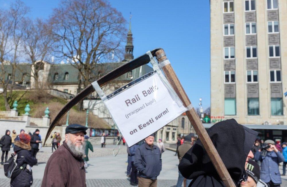 Meeleavaldus Rail Balticu vastu Vabaduse väljakul.