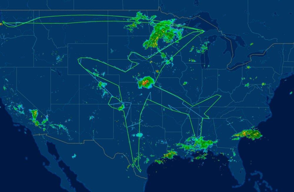 Omamoodi autoportree: Boeing joonistas miskipärast lennutrajektooriga USA kaardile hiiglasliku lennuki