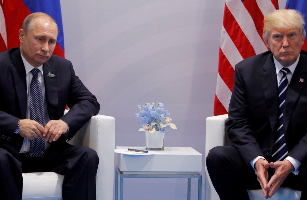 Presidendid Vladimir Putin ja Donald Trump - kehakeel räägib mõnikord iseenda eest.