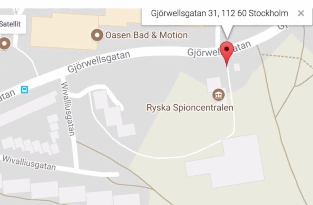 Vene saatkond Stockholmis nimetati Google Mapsis Vene Spioonikeskuseks