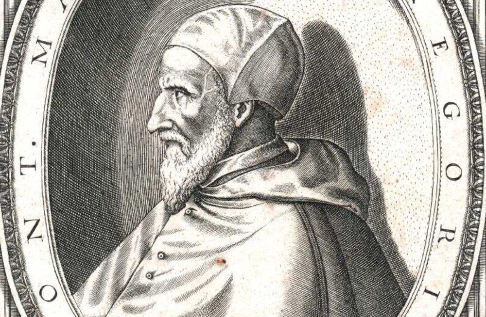 Uue kalendri kasutuselevõtja paavst Gregorius XIII (1502 - 1585). Fragment Esaias van Hulseni gravüürist.