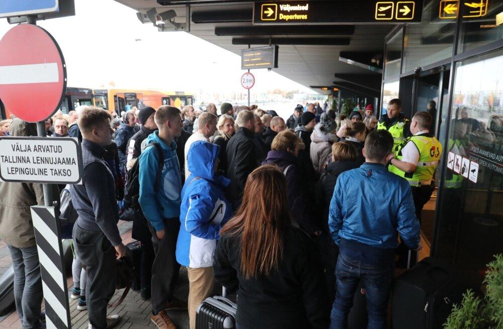 FOTOD SÜNDMUSKOHALT: Tallinna lennujaamale tehti pommiähvardus