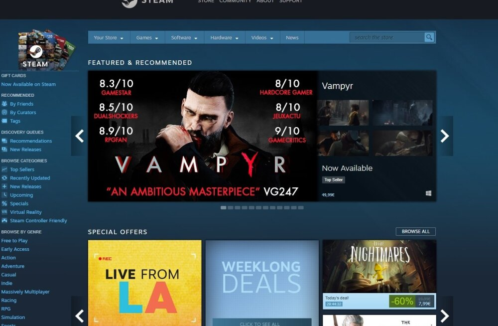 Steami mängukeskkonna avakuva