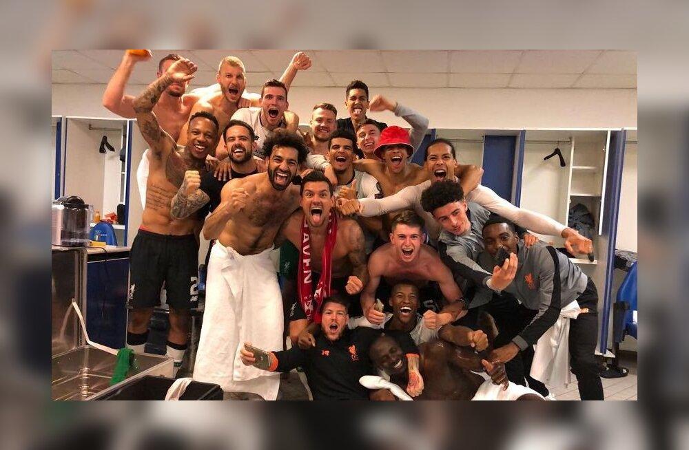 FOTO JA VIDEO | Vaata, kuidas tähistasid Klavan ja teised Liverpooli mängijad finaalipääsu riietusruumis!