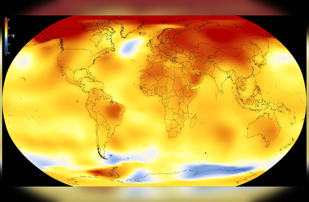 Kaardil on aastate 2013-2015 keskmist temperatuuri võrreldud aastate 1951-1980 keskmisega. Kollased, oranžid ja punased kohad näitavad, kus on keskmine temperatuur tõusnud.