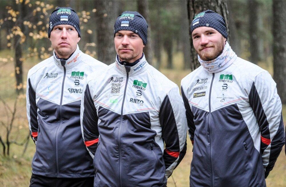 Team Haanja suusatajad (vasakult) Aivar Rehemaa, Raido Ränkel ja Marko Kilp.