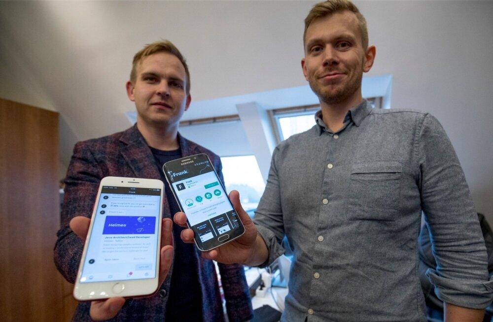 MeetFranki asutajad (paremalt) Anton Narusberg ja Kaarel Holm on loonud tööotsijaile rakenduse, mis teatab muu hulgas palga suuruse.