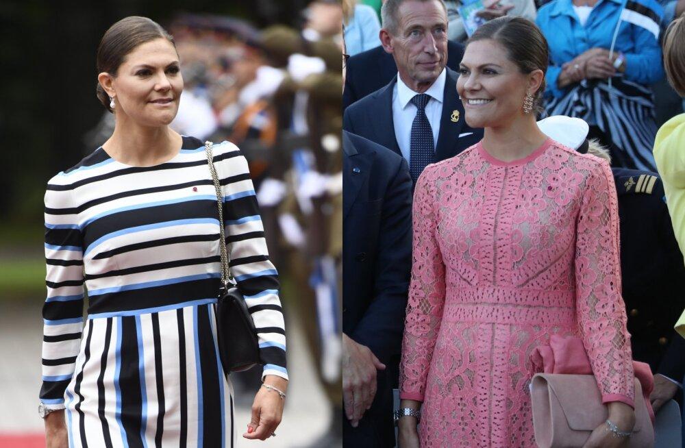 FOTOD | Rootsi kroonprintsess Victoria visiidi stiilinäited: sinimustvalged triibud ja roosast pitsist vana lemmik