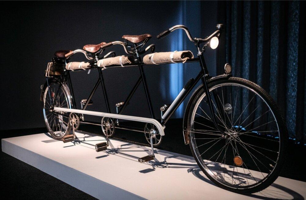 Ilmselt Joseph Beuysile vihjav jalgratas pulgale kinnitatud villatekkide ja pakiraamile pandud rasvakangidega.
