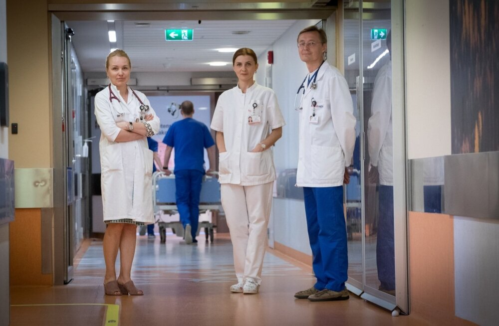 Ainuüksi PERH-i kardioloogia osakondades on kindlustamata haigeid tänavu ravitud 90 000 euro eest, ütlevad Pentti Põder, Julia Reinmets ja Riina Vettus.