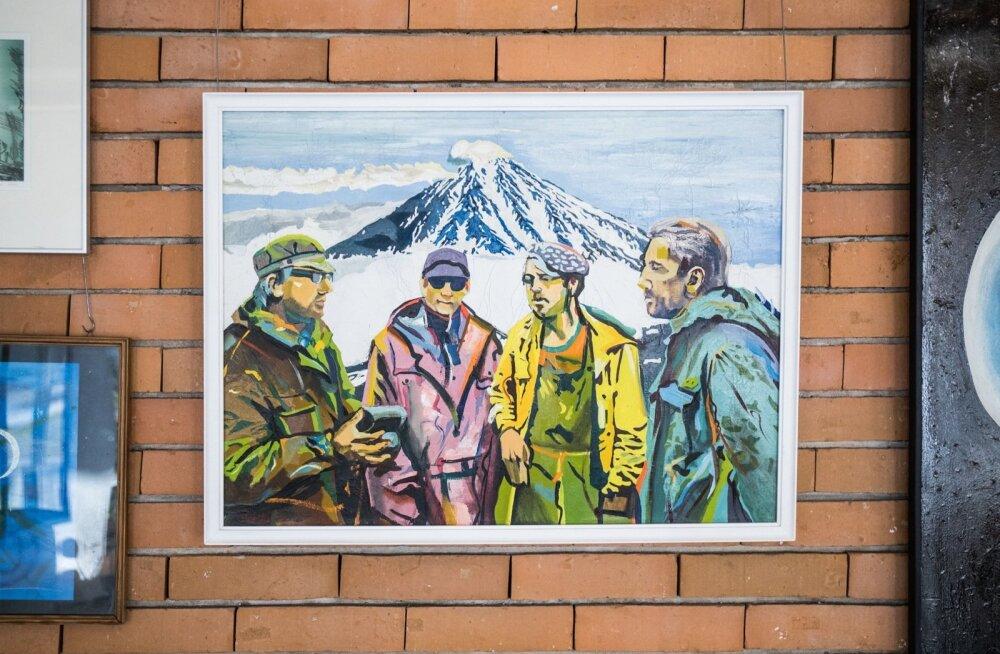 """Heiti Polli """"Lumi"""", suurema töö visand. Pildil paremalt Tõnu Kesküla, Arvo Raudsepp, Andres Kollist ja Jüri Kask"""