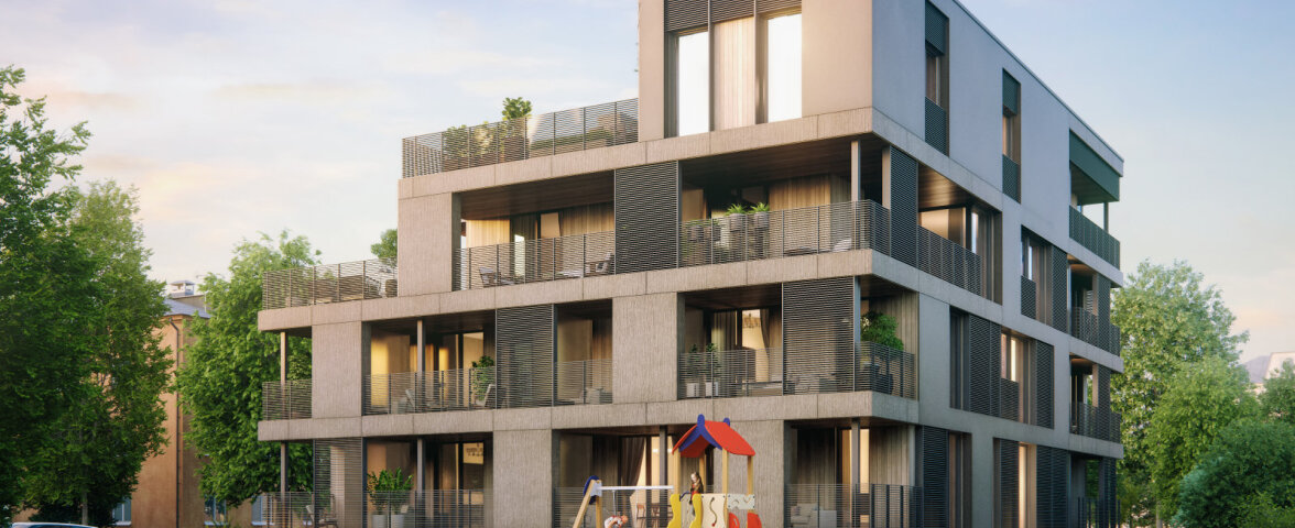 Modernne päikesepaneelidega korterelamu linna südames