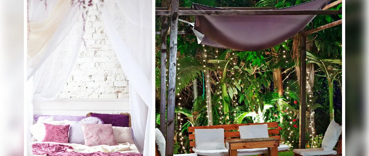 Baldahhiinid lisavad pehmust nii toas kui ka õues