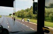 LUGEJA FOTO: Bussijuht ja reisijad aitasid pardipojad üle tee